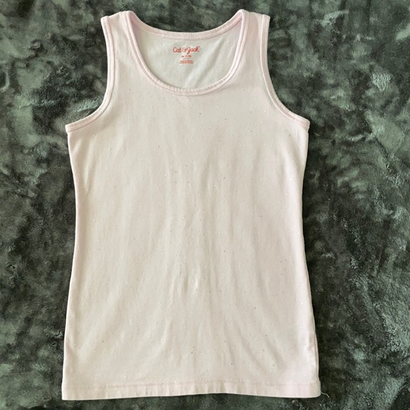 Pink with glitter girls tank top